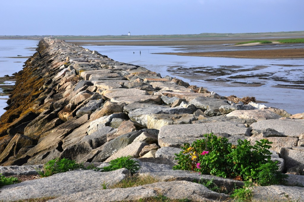 The breakwater in Provincetown stretches a mile-long, offering protection to the inner harbor.